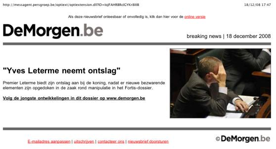 """""""Leterme neemt ontslag"""" - De Morgen"""