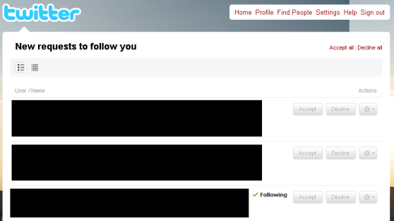 Overzicht van follower requests.