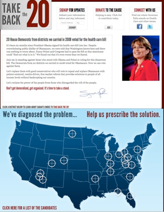 Sarah Palin's reclame (note the crosshairs!)