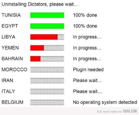 """Uninstalling dictators, please wait."""
