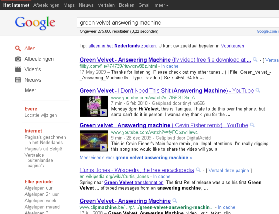 Google now displays the URL of a result in green text.