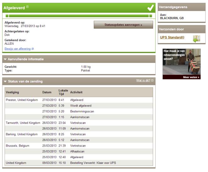 Tracking details van de UPS-verzending